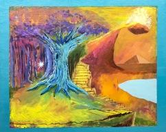 "Landscape Framed in Blue, 2017 20""x16"" Acrylic on Wood"